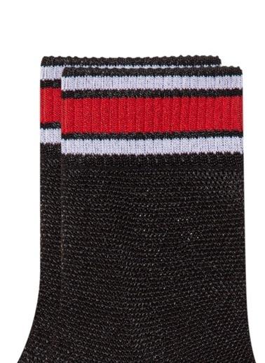 Mavi Bileği Çizgili  Soket Çorap Siyah